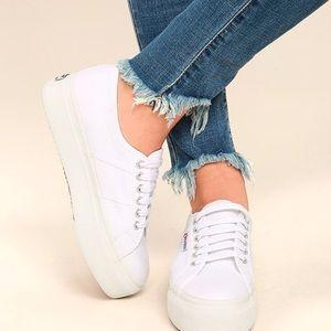 Superga White Platform Sneakers 8.5 US